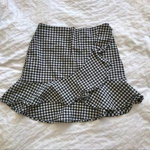 H&M gingham ruffle skirt